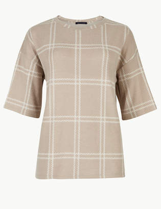 Marks and Spencer Checked Round Neck Short Sleeve Sweatshirt