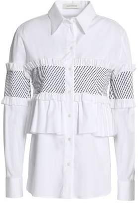 Cédric Charlier Ruffle-Trimmed Shirred Cotton-Blend Poplin Shirt