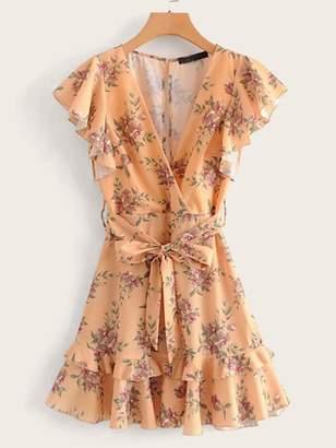 Shein Tiered Ruffle Surplice Belt Floral Tea Dress