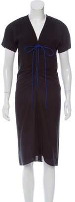 Reed Krakoff Drawstring-Accented Midi Dress Black Drawstring-Accented Midi Dress