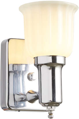 Rejuvenation Classic Chrome Sconce w/ Fluted Opal Glass Shade
