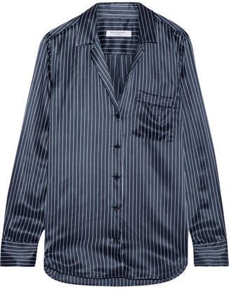 Equipment - Keira Striped Silk-satin Shirt - Navy $270 thestylecure.com