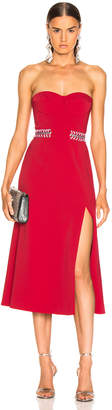 Jonathan Simkhai Chain Bustier Slit Dress in Fire Red & Hibiscus | FWRD