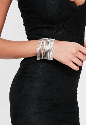 Missguided Silver Diamante Layered Bracelet, Grey