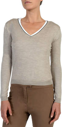 Eleventy V-Neck Wool-Blend Sweater