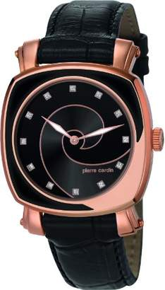 Pierre Cardin Fresque Women's Quartz Watch with Black Dial Analogue Display and Black Leather Strap PC105652F05