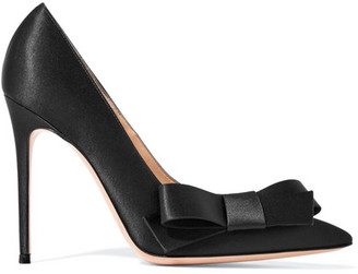 Kyoto Bow-embellished Satin Pumps - Black