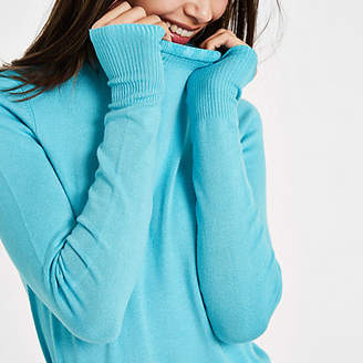 River Island Blue frill high neck long sleeve turtleneck