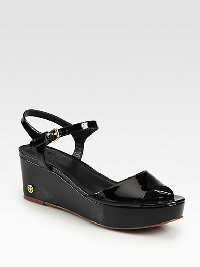 Tory Burch Abena Patent Leather Wedge Sandals