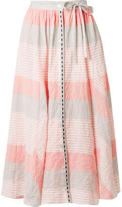 Lemlem Dera Godet Striped Cotton-blend Gauze Midi Skirt - Pastel pink