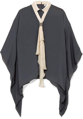 Brunello Cucinelli Pussy-bow Embellished Silk-chiffon Blouse - Gray