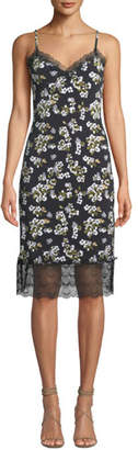 MICHAEL Michael Kors Floral-Print Sweetheart Slip Dress with Lace Trim