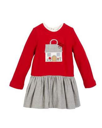 Mayoral Fleece House Applique Long-Sleeve Dress, Size 12-36 months