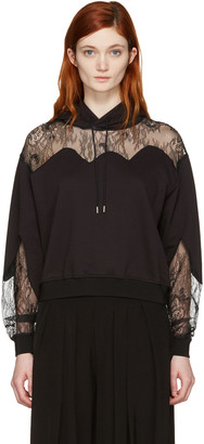 McQ Alexander McQueen Black Lace-Trimmed Hoodie $450 thestylecure.com