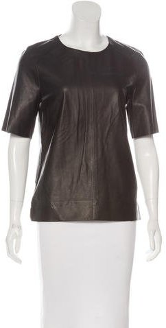 J Brand J Brand Leather Short Sleeve Top