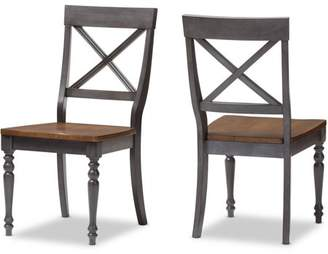 "Baxton Studio Rosalind Shabby Chic Country Cottage Weathered Dove Gray and ""Oak"" Brown Finishing Solid Wood X-Back Dining Side Chairs, Set of 2"