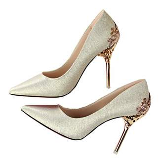 Msanlixian Women Pumps Scrub Wedding Shoes Bridal Shoes Metal Openwork 10CM Thin High-Heeled Suede Pointed Women's Shoes