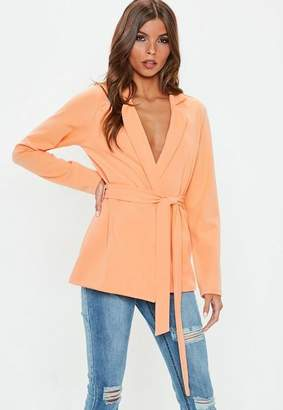 Missguided Peach Tie Side Jersey Blazer