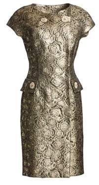 Alice + Olivia Teri Jon by Rickie Freeman Cap Sleeve Metallic Jacquard Midi Dress
