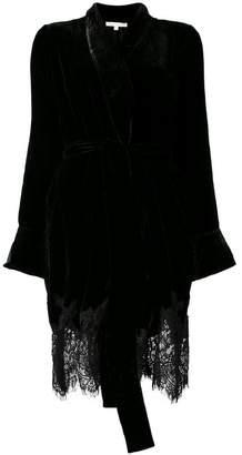 Gold Hawk lace trim kimono jacket