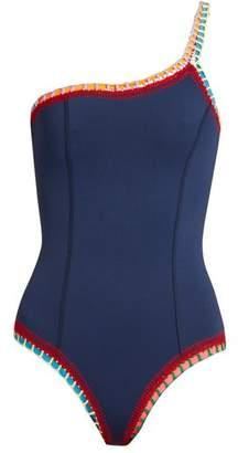 Kiini Tasmin Crochet Trimmed One Shoulder Swimsuit - Womens - Navy Multi