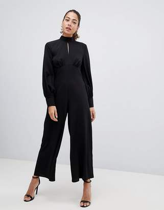 Asos Design Design Jumpsuit with high neck and blouson sleeve with keyhole