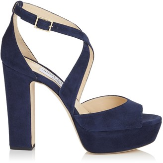 Jimmy Choo APRIL 120 Navy Suede Platform Sandals