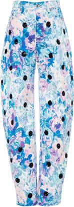 ATTICO Tapestry Floral Gabardine Wide-Leg Pants