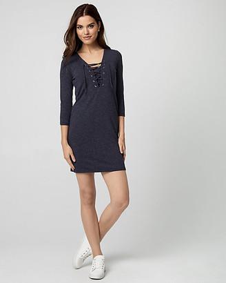 Le Château Knit Lace-Up Tunic Dress