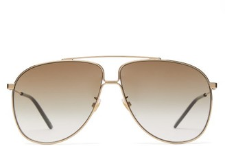 Gucci Oversized Aviator Frame Sunglasses - Mens - Gold