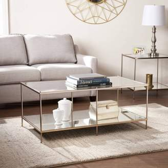 Southern Enterprises Kreamer Metal and Glass Coffee Table, Metallic Gold