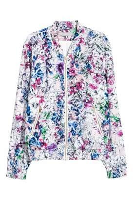 H&M Satin Bomber Jacket - Powder pink/floral - Women