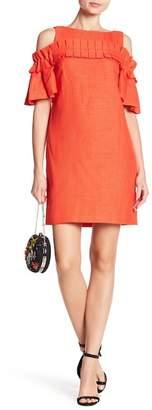 Badgley Mischka Pleated Cold Shoulder Dress