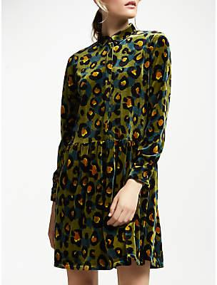 Nümph Ederne Leopard Print Shirt Dress, Ivy Green