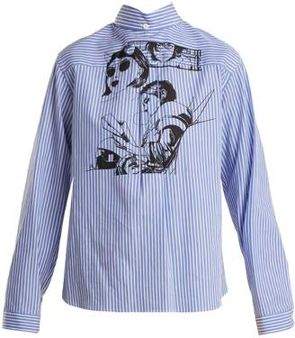 Prada Comic-print striped cotton shirt