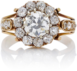 Fred Leighton 18K Yellow Gold Victorian Old European Cut Diamond Cluster Ring
