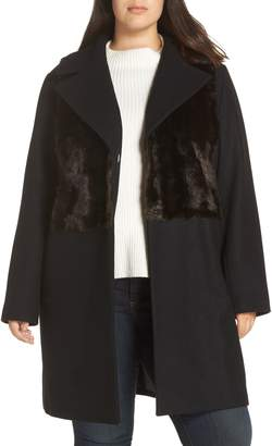 Rachel Roy Faux Fur Panel Wool Blend Coat