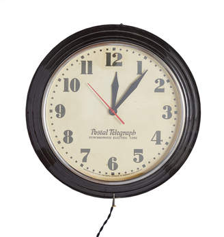 Rejuvenation Large Black Postal Telegraph Clock