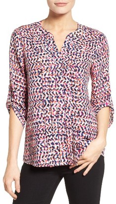 Women's Chaus Print Pleat Roll Sleeve Blouse $69 thestylecure.com