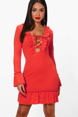 boohoo Lace Up Front Ruffle Hem Tea Dress