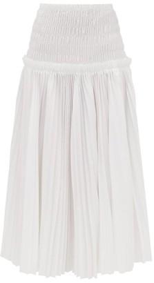 KHAITE Rosa Pleated Cotton Poplin Midi Skirt - Womens - White