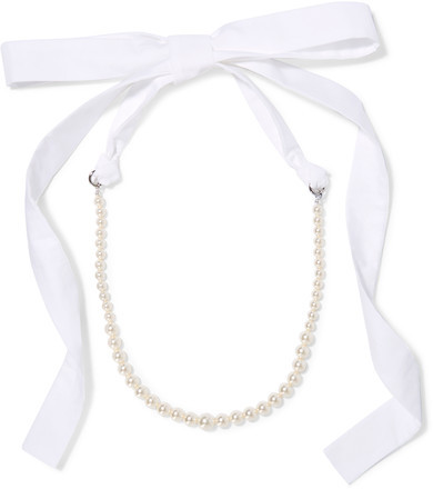 Miu MiuMiu Miu - Silver-tone, Faux Pearl And Poplin Necklace - Cream