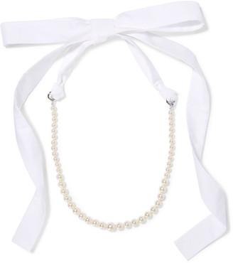 Silver-tone, Faux Pearl And Poplin Necklace - Cream