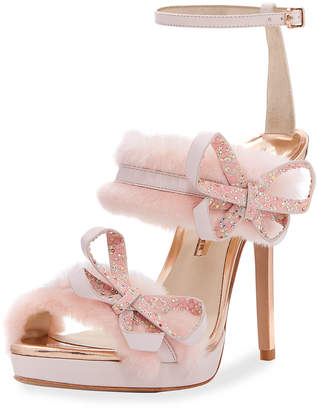 Sophia Webster Faux-Fur Ankle-Wrap Sandals, Pink