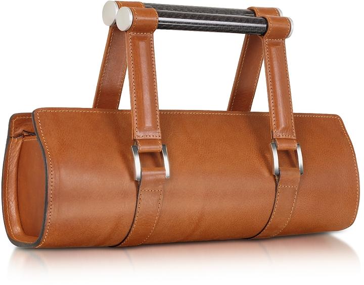 Aznom Carbon Lady Vintage - Brown Leather Baguette Bag with Ergonomic Handles