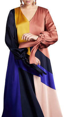 Marina Rinaldi Plus Size Frisottino Patchwork V-Neck Blouson-Sleeve Tie-Cuff Dress