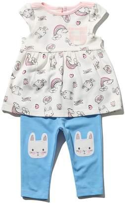 M&Co Bunny print top and leggings set