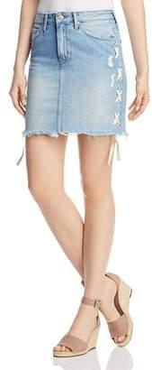 Mavi Jeans Frida Lace-Up Denim Skirt in Light Summer Lace