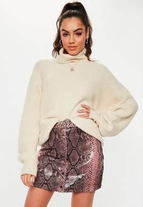 Missguided Pink Snake Print Belt Detail Mini Skirt