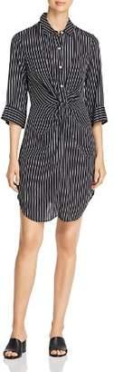 Three Dots Striped & Twisted Shirt Dress